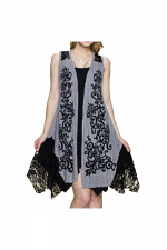 Vest With Lace Contrast