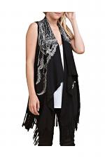 Fringe Vest With Print