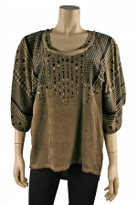 Aztec Print Top in Brown