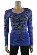 Long Sleeve Burn Out Top in Blue