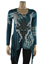 Long Sleeve Fringed Top in Teal