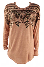Dolman Sleeve Top With Print