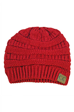 Knitted Solid Beanie in Red