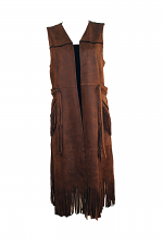 Faux Leather Vest W-Fringe
