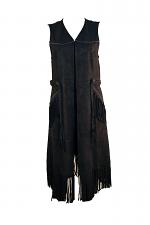 Faux Leather Vest W-Fringe
