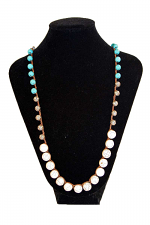 Turquoise And White Beaded Necklace