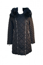 Down Jacket W-Zippers Fur Trim
