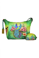 Passionate Peacocks Medium Crossbody Hobo