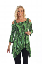 Cold Shoulder Tunic In Green