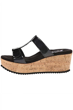 Cork Wedge With Stone Strap