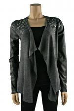Open Front Jacket with Studs in Black & Grey
