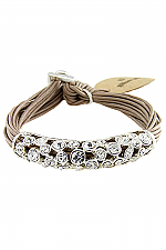 Cord Bracelet With Swarovski & Silver Detail in Taupe