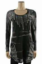 Long Sleeve Studded Tunic in Black