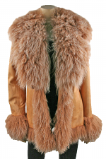 Leather Jacket with Lamb Trim in Camel