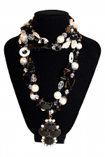 Ebony Ivory- 5 Strand Necklace