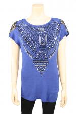 Blue Lace Shoulder Top
