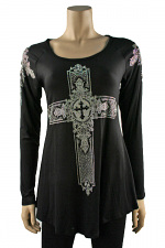 Long Sleeve Cross Tunic in Black