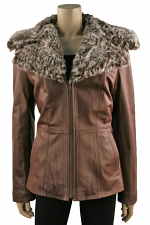 Leather Jacket with Lamb in Brown