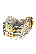 Sterling Silver and Gold Tube Bracelet in Taupe