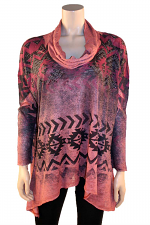 L/S Cowl Neck Print Top