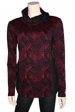 L/S Cowl Neck With Print in Red and Black