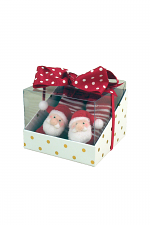 Santa Rattle Toe Sock W Hair Bow