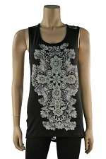 Lace Back Tank in Black