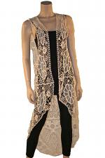 Crochet High Low Vest in Ivory