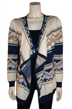 Open Front Print Sweater in Gold