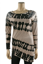 Long Sleeve Diagonal Top in Taupe