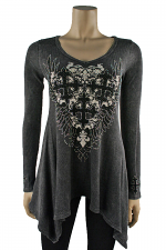Long Sleeve Thermal Tunic in Charcoal