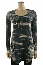 Long Sleeve Studded Tunic in Grey