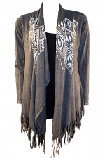 Fringe Cardigan With Print And Stones