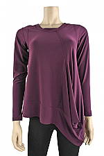 Long Sleeve Mirage Top In Merlot