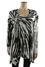 Long Sleeve Tie Dyed Tunic in Black & White