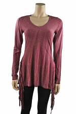 Long Sleeve Top with Fringe in Maroon
